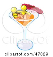 Yellow Design Mascot Couple Soaking In A Cocktail Glass With An Umbrella