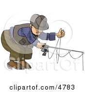 Man Fishing With A Standard RodAmpReel Clipart by djart