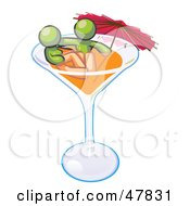 Green Design Mascot Couple Soaking In A Cocktail Glass With An Umbrella