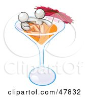 Royalty Free RF Clipart Illustration Of A White Design Mascot Couple Soaking In A Cocktail Glass With An Umbrella