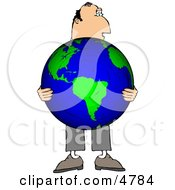 Businessman Holding The World In His Hands Clipart