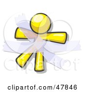 Royalty Free RF Clipart Illustration Of A Yellow Design Mascot Man Restrained With Tape by Leo Blanchette