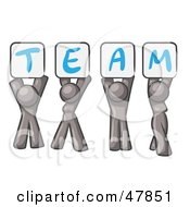 Royalty Free RF Clipart Illustration Of A Gray Design Mascot Group Holding Up Team Signs by Leo Blanchette