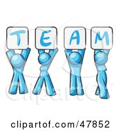 Royalty Free RF Clipart Illustration Of A Blue Design Mascot Group Holding Up Team Signs by Leo Blanchette