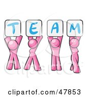 Royalty Free RF Clipart Illustration Of A Pink Design Mascot Group Holding Up Team Signs by Leo Blanchette