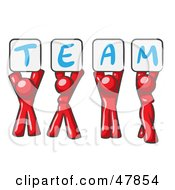 Royalty Free RF Clipart Illustration Of A Red Design Mascot Group Holding Up Team Signs