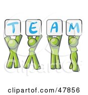 Royalty Free RF Clipart Illustration Of A Green Design Mascot Group Holding Up Team Signs