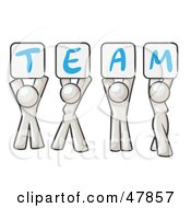 Royalty Free RF Clipart Illustration Of A White Design Mascot Group Holding Up Team Signs