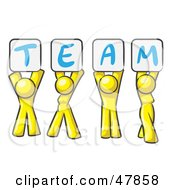 Royalty Free RF Clipart Illustration Of A Yellow Design Mascot Group Holding Up Team Signs