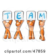 Royalty Free RF Clipart Illustration Of An Orange Design Mascot Group Holding Up Team Signs by Leo Blanchette