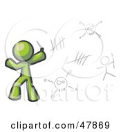 Royalty Free RF Clipart Illustration Of A Green Design Mascot Man Writing Tribal Designs On A Wall by Leo Blanchette