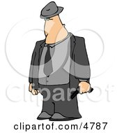 Mobster Armed With A Pistol Clipart by Dennis Cox
