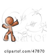 Royalty Free RF Clipart Illustration Of A Brown Design Mascot Man Writing Tribal Designs On A Wall