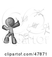 Royalty Free RF Clipart Illustration Of A Gray Design Mascot Man Writing Tribal Designs On A Wall by Leo Blanchette