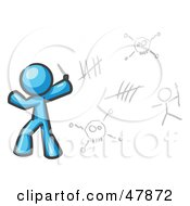 Royalty Free RF Clipart Illustration Of A Blue Design Mascot Man Writing Tribal Designs On A Wall by Leo Blanchette