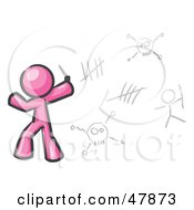 Royalty Free RF Clipart Illustration Of A Pink Design Mascot Man Writing Tribal Designs On A Wall by Leo Blanchette