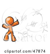 Royalty Free RF Clipart Illustration Of An Orange Design Mascot Man Writing Tribal Designs On A Wall by Leo Blanchette
