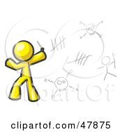 Royalty Free RF Clipart Illustration Of A Yellow Design Mascot Man Writing Tribal Designs On A Wall by Leo Blanchette