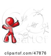 Red Design Mascot Man Writing Tribal Designs On A Wall