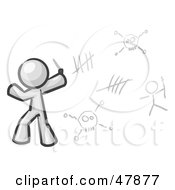Royalty Free RF Clipart Illustration Of A White Design Mascot Man Writing Tribal Designs On A Wall