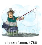 Man Fishing In A Lake With A Standard Rod And Reel Fishing Pole Clipart