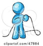 Royalty Free RF Clipart Illustration Of A Blue Design Mascot Man Tying Loose Ends Of Cables by Leo Blanchette