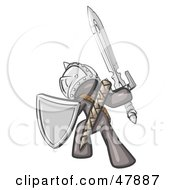 Royalty Free RF Clipart Illustration Of A Gray Design Mascot Man Ultimate Warrior With A Sword And Shield by Leo Blanchette