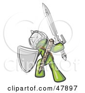 Green Design Mascot Man Ultimate Warrior With A Sword And Shield