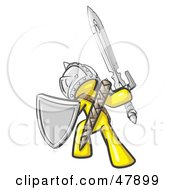 Royalty Free RF Clipart Illustration Of A Yellow Design Mascot Man Ultimate Warrior With A Sword And Shield