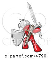 Red Design Mascot Man Ultimate Warrior With A Sword And Shield by Leo Blanchette