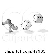 Royalty Free RF Clipart Illustration Of A Gray Design Mascot Man Running From Dice by Leo Blanchette
