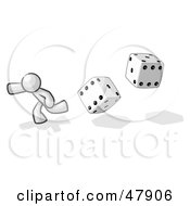 Royalty Free RF Clipart Illustration Of A White Design Mascot Man Running From Dice by Leo Blanchette