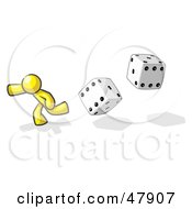 Yellow Design Mascot Man Running From Dice