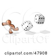 Royalty Free RF Clipart Illustration Of A Brown Design Mascot Man Running From Dice by Leo Blanchette