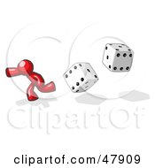 Royalty Free RF Clipart Illustration Of A Red Design Mascot Man Running From Dice by Leo Blanchette