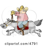 Cowboy Riding A Fast Horse Clipart