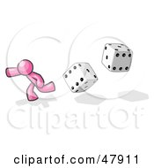 Pink Design Mascot Man Running From Dice