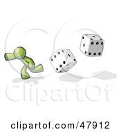 Royalty Free RF Clipart Illustration Of A Green Design Mascot Man Running From Dice by Leo Blanchette