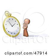 Poster, Art Print Of Brown Design Mascot Man Worried And Watching A Clock