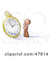 Royalty Free RF Clipart Illustration Of A Brown Design Mascot Man Worried And Watching A Clock by Leo Blanchette