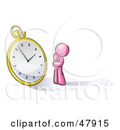 Pink Design Mascot Man Worried And Watching A Clock