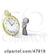 Royalty Free RF Clipart Illustration Of A Gray Design Mascot Man Worried And Watching A Clock by Leo Blanchette