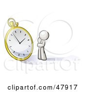 Royalty Free RF Clipart Illustration Of A White Design Mascot Man Worried And Watching A Clock by Leo Blanchette