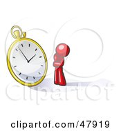 Royalty Free RF Clipart Illustration Of A Red Design Mascot Man Worried And Watching A Clock by Leo Blanchette