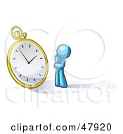 Royalty Free RF Clipart Illustration Of A Blue Design Mascot Man Worried And Watching A Clock by Leo Blanchette