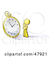 Royalty Free RF Clipart Illustration Of A Yellow Design Mascot Man Worried And Watching A Clock by Leo Blanchette