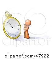 Royalty Free RF Clipart Illustration Of An Orange Design Mascot Man Worried And Watching A Clock by Leo Blanchette