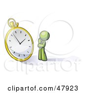 Royalty Free RF Clipart Illustration Of A Green Design Mascot Man Worried And Watching A Clock by Leo Blanchette