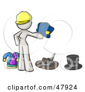 Royalty Free RF Clipart Illustration Of A White Design Mascot Woman With Many Hats