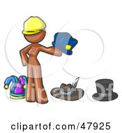 Royalty Free RF Clipart Illustration Of A Brown Design Mascot Woman With Many Hats